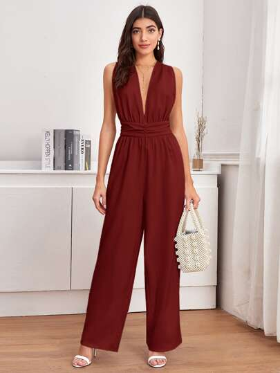 Plunging Neck Wide Leg Jumpsuit