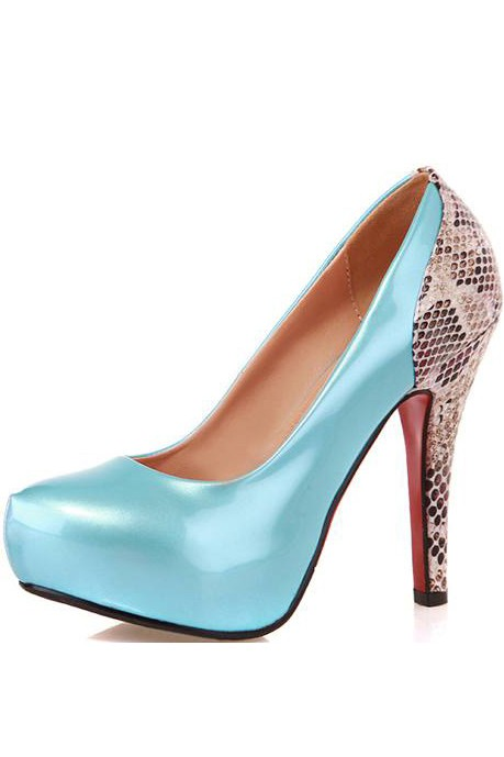Light Blue Patent Faux Leather Snakeskin Heels