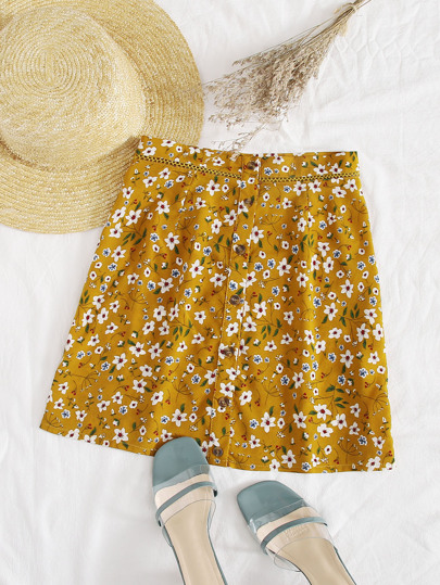Button Front Lace Insert Ditsy Floral Skirt