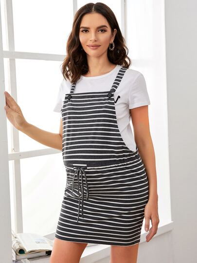 Maternity Drawstring Waist Striped Overall Dress