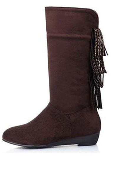 Brown Suede Tassel Mid Calf Boots