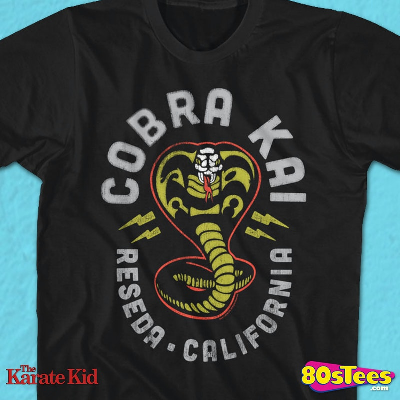 b271eb0d Neon Cobra Kai Logo Karate Kid T-Shirt Officially Licensed Karate Kid Men's  T-shirt - Big and Tall Sizes Available.