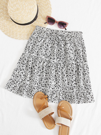 Ditsy Floral Print Frill Trim Knot Skirt