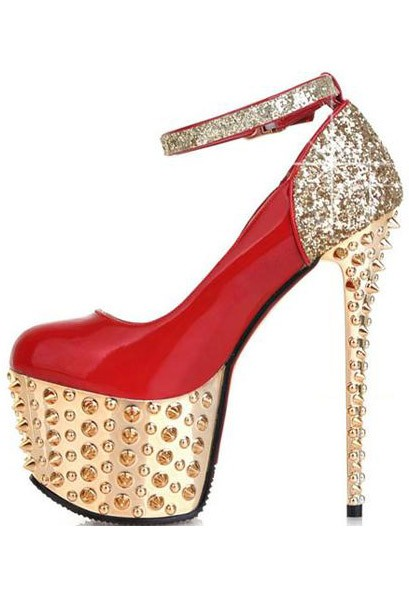 Red Patent Leather Pump Sequin Spike Heels