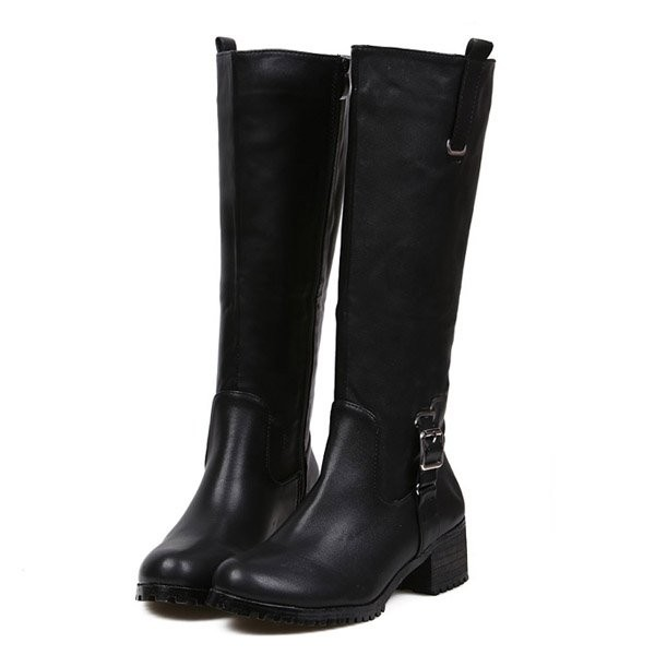 Black Pu Buckle Knee High Boots