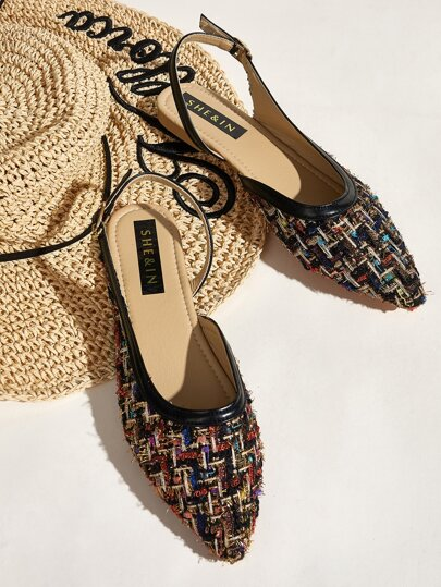 Tweed Point Toe Slingback Flats