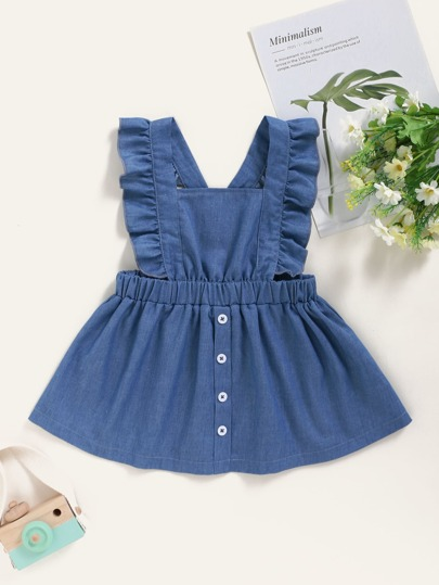 Baby Girl Ruffle Trim Pinafore Denim Dress
