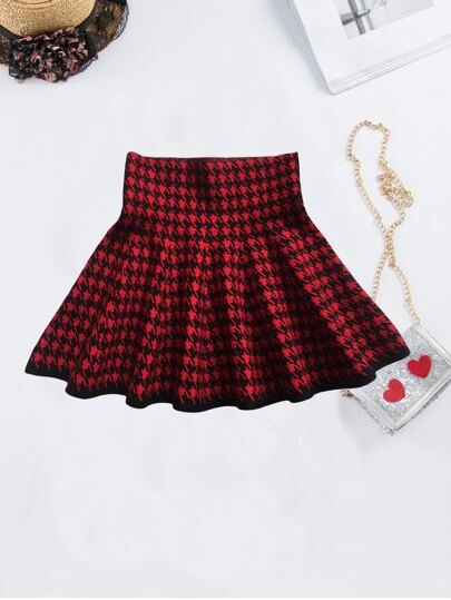 Toddler Girls Wind-band Waist Houndstooth Skater Skirt