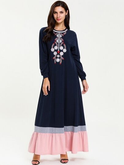 Tribal Embroidered Colorblock Smock Dress