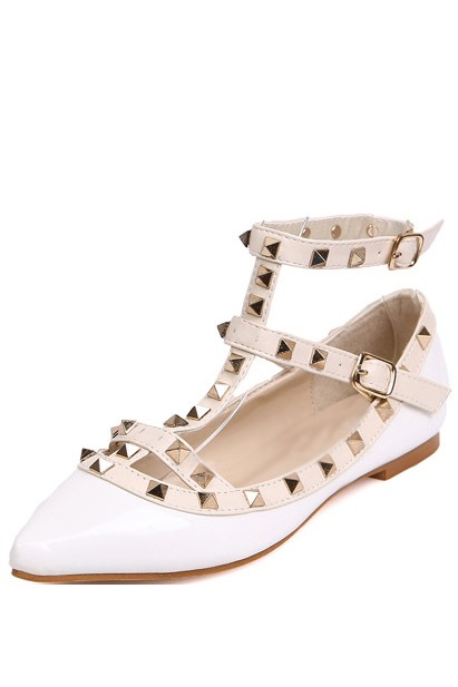 White Faux Leather Studded Pointed Toe Flats