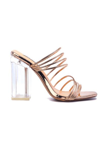 LUCIENNE MAKES AN ENTRANCE SLIP ON MULTI STRAP HEEL-ROSE GOLD