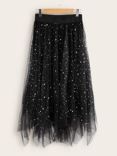 Star Pattern Mesh A-line Skirt