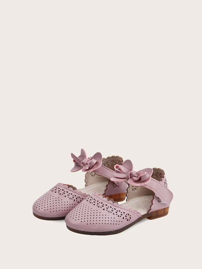 Toddler Girls Bow Decor Hollow-out Flats