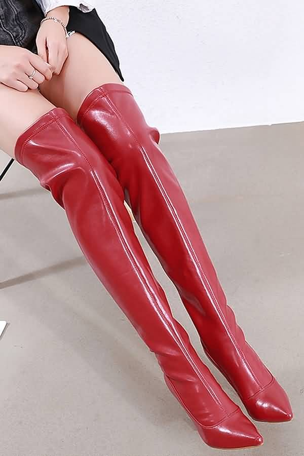 Red Pointed Toe Stiletto Over The Knee Boots
