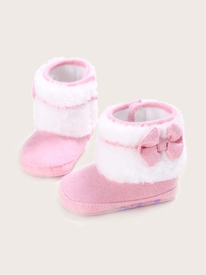 Baby Girl Bow Decor Fluffy Boots