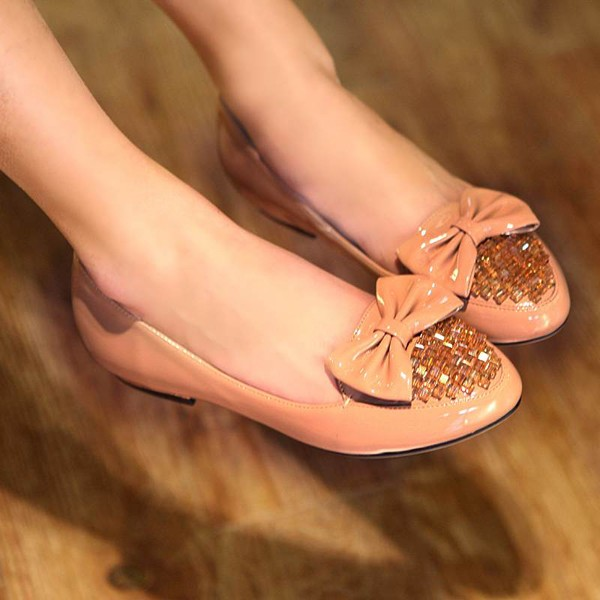 Faux Leather Gemstones Bow Decor Sweet Flats