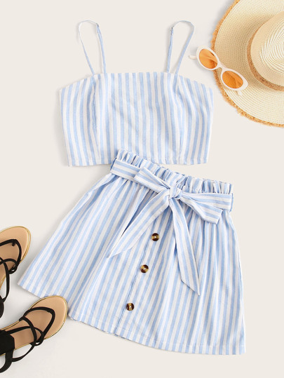 Shirred Striped Cami Top & Button Front Belted Skirt