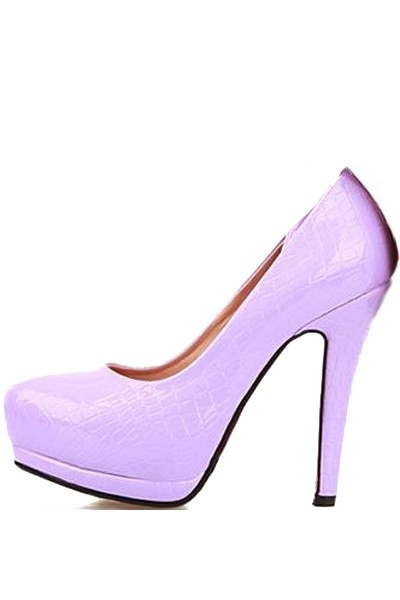 Light Purple Patent Faux Leather Embossed Heels