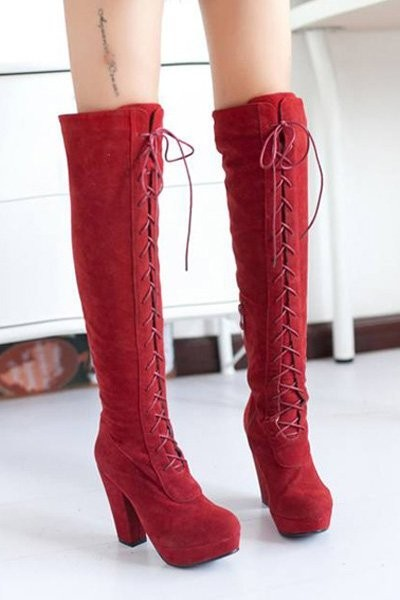 Red Suede Over The Knee Heels Boots
