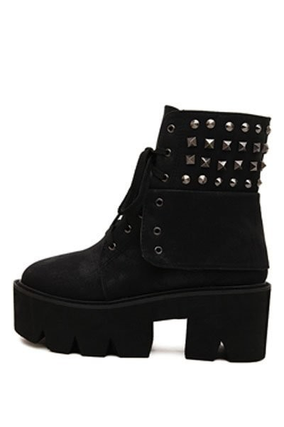Black Faux Pu Lace Up Studded Combat Boots