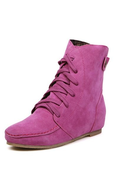 Fuchsia Suede Lace Up Flat Ankle Boots
