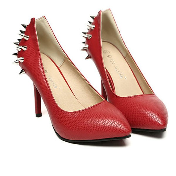 Red Rivet Faux Leather Pointed Toe Heels