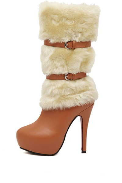 Brown Faux Leather Buckle Faux Fur Boots