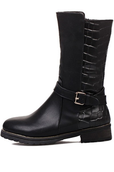 Black Faux Leather Buckle Square Heel Mid Calf Boots