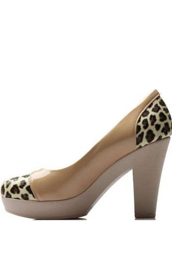 Apricot Patent Leather Leopard Detail Chunky Heels
