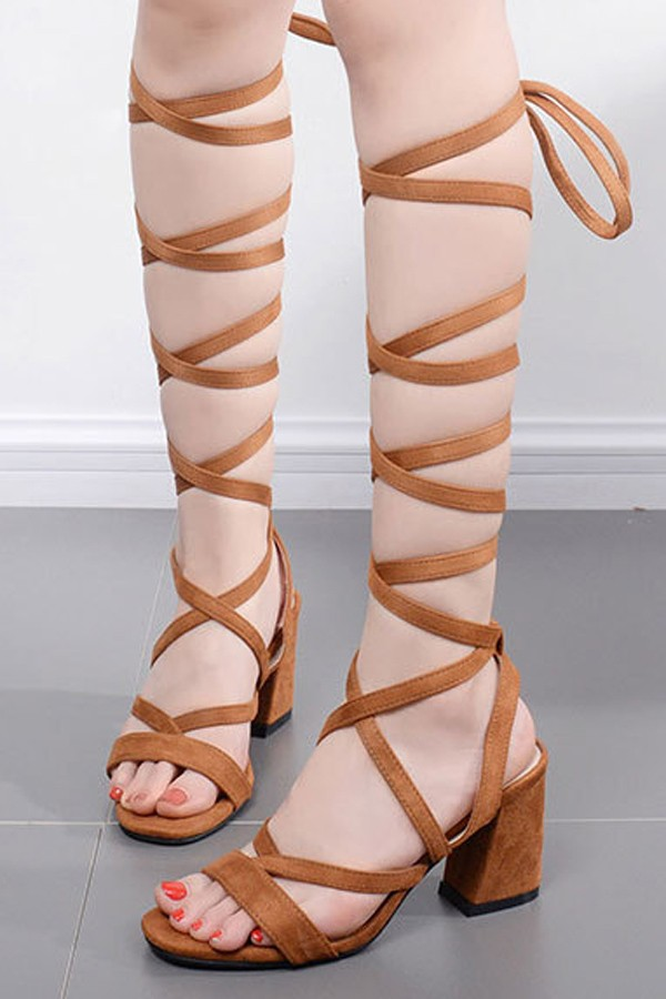 Light Brown Suede Lace Up Strappy Open Toe Gladiator Chunky Heels