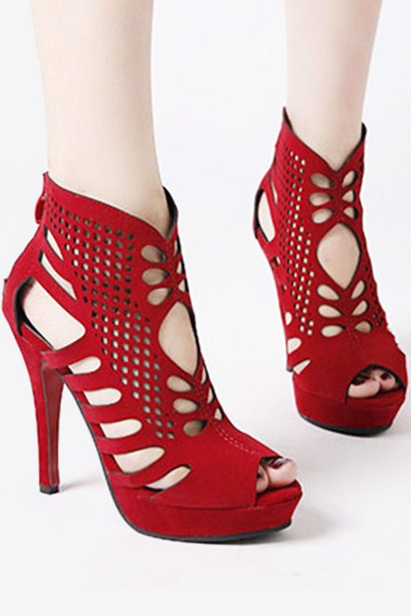 Red Hollow-out Peep Toe Platform Stiletto Heels Pumps