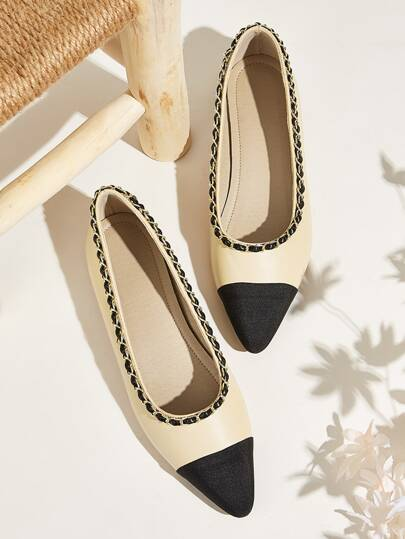Two Tone Point Toe Ballet Flat Shoes