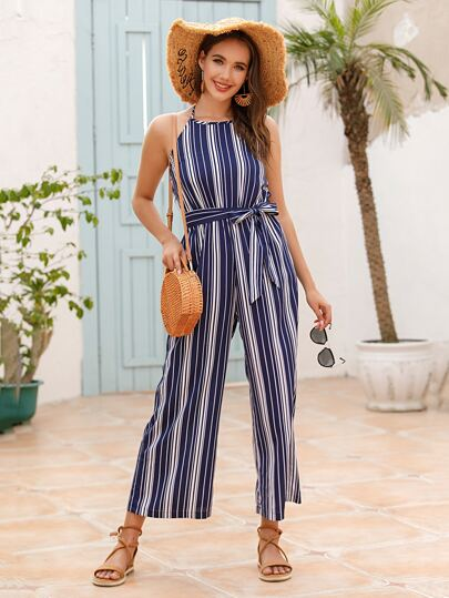 Striped Halter Self Tie Wide Leg Jumpsuit