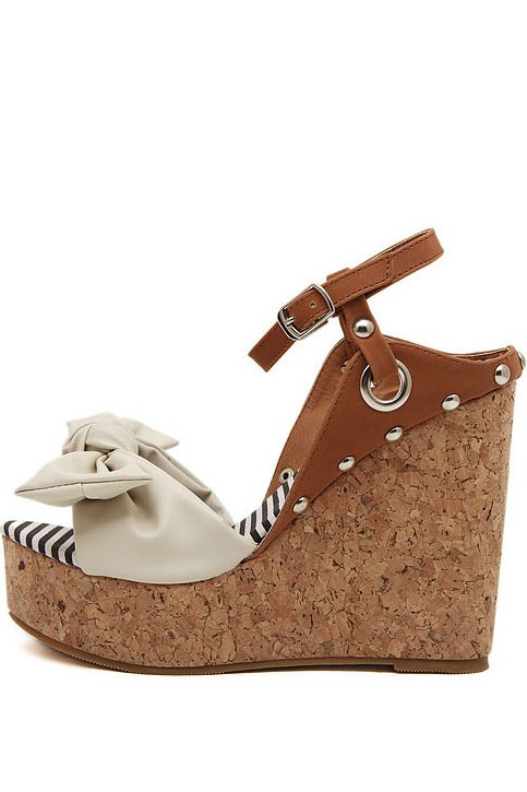 Apricot Faux Leather Bowknot Cork Platform Wedges