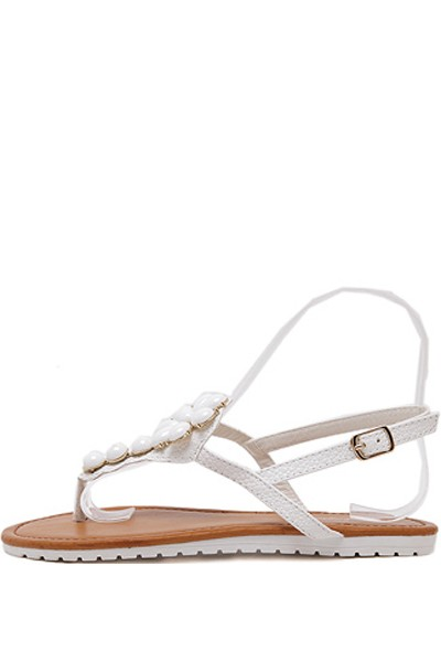 White Faux Gemstone Thong Boho Sandals
