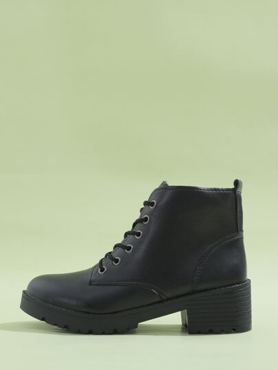Minimalist Lace-up Front Ankle Boots