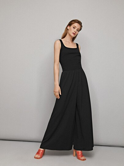 Scoop Neck Wide Leg Jumpsuit