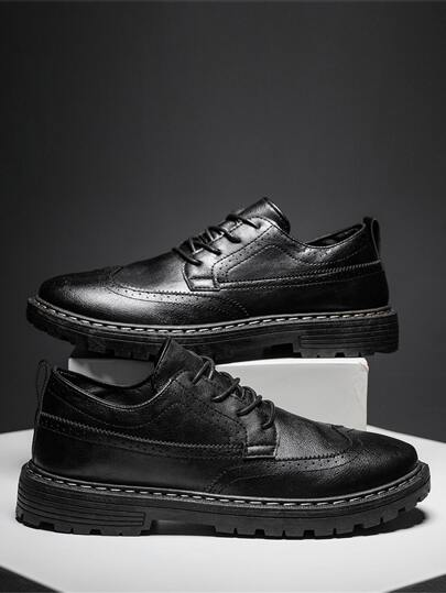 Lace Up Front Perforated Dress Shoes