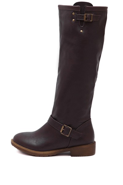 Coffee Buckle Strap Square Heel Riding Boots
