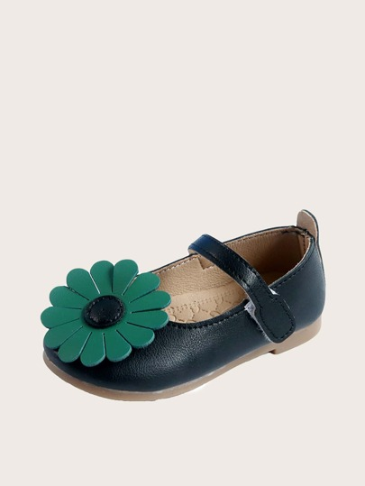 Toddler Girls Floral Decor Velcro Strap Flats
