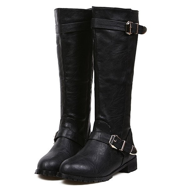 Black Pu Buckle Thigh High Boots