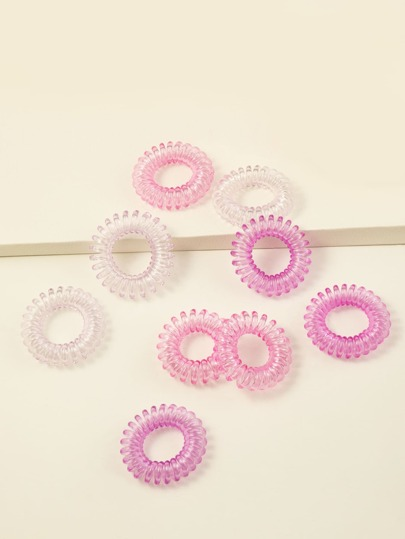 9pcs Toddler Girls Coil Wire Hair Tie