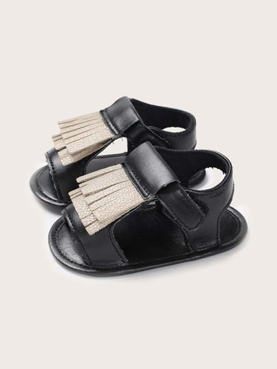 Baby Girl Fringe Decor Velcro Strap Sandals