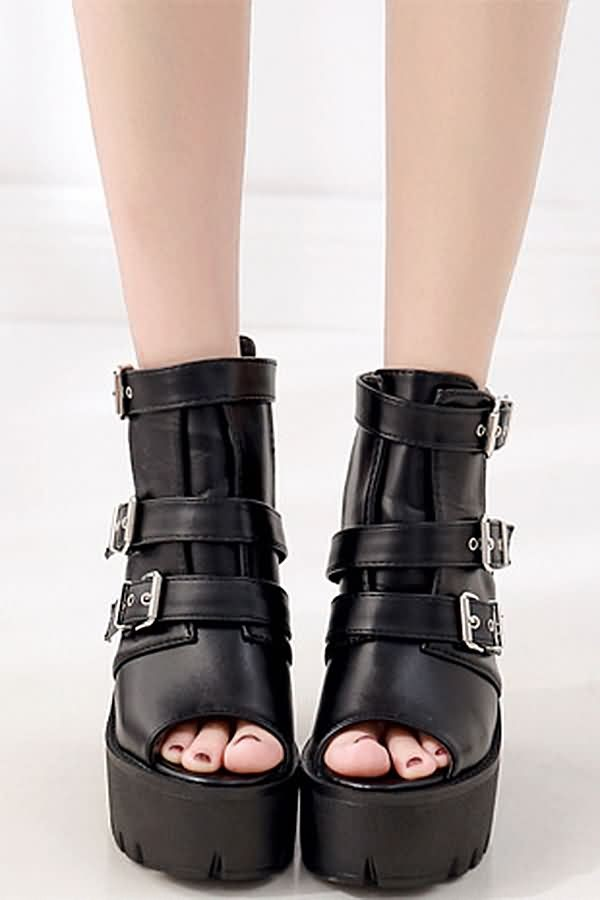 Black Leather Buckle Up Peep Toe Chunky Block Heel Ankle Boots