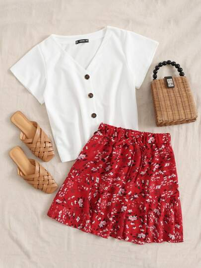 Button Front Tee & Ruffle Hem Floral Skirt Set