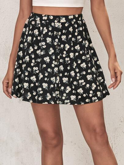 Button Front Ditsy Floral Skater Skirt
