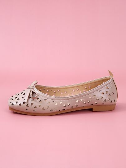 Bow Decor Hollow Out Slip On Flats
