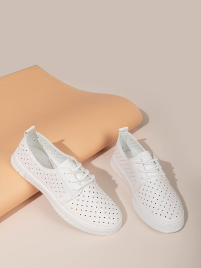 Lace-up Front Perforated Skate Shoes