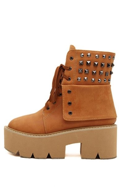 Brown Faux Pu Lace Up Studded Combat Boots