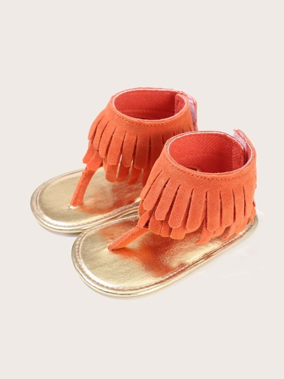 Baby Girl Toe Post Fringe Decor Sandals